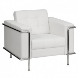 MFO Sophia Collection Contemporary White Leather Chair with Encasing Frame