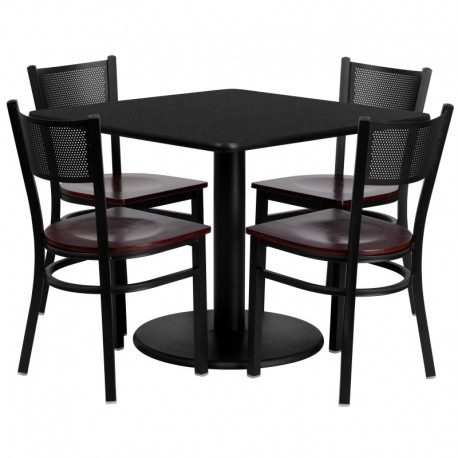 MFO 36'' Square Black Laminate Table Set with 4 Grid Back Metal Chairs - Mahogany Wood Seat