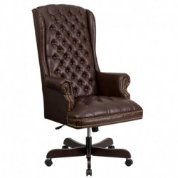 MFO High Back Traditional Tufted Brown Leather Executive Office Chair