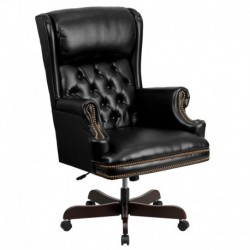 MFO High Back Traditional Tufted Black Leather Executive Office Chair