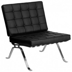 MFO Friendly Collection Black Leather Lounge Chair with Curved Legs