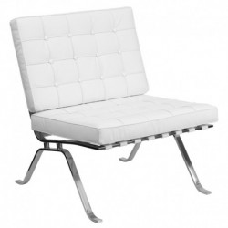MFO Friendly Collection White Leather Lounge Chair with Curved Legs