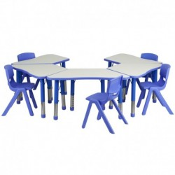 MFO Blue Trapezoid Plastic Activity Table Configuration with 5 School Stack Chairs
