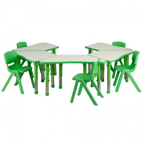 MFO Green Trapezoid Plastic Activity Table Configuration with 5 School Stack Chairs