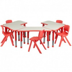 MFO Red Trapezoid Plastic Activity Table Configuration with 5 School Stack Chairs