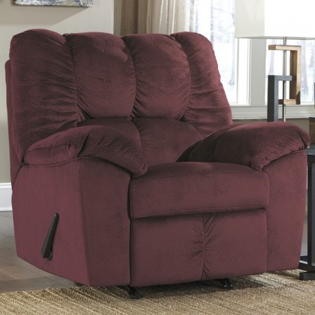 MFO Velvetine Rocker Recliner in Burgundy Fabric