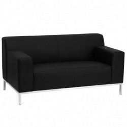 MFO Basal Collection Contemporary Black Leather Love Seat with Stainless Steel Frame