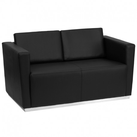 MFO Debonair Collection Contemporary Black Leather Love Seat with Stainless Steel Base