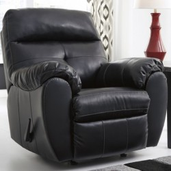 MFO Benchcraft Glamour Rocker Recliner in Midnight DuraBlend