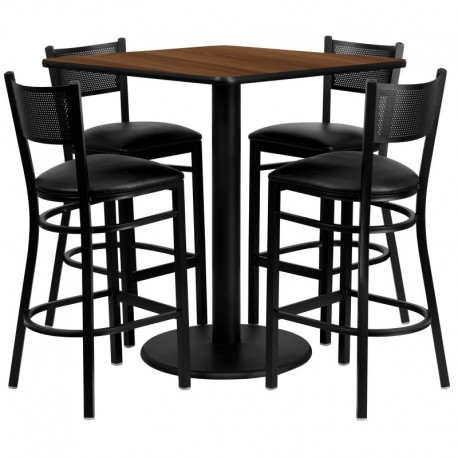 MFO 36'' Square Walnut Laminate Table Set with 4 Grid Back Metal Bar Stools - Black Vinyl Seat