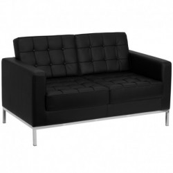 MFO Chimera Collection Contemporary Black Leather Love Seat with Stainless Steel Frame