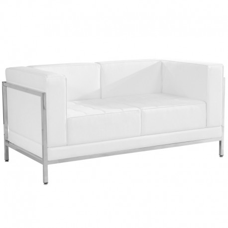 MFO Immaculate Collection Contemporary White Leather Love Seat with Encasing Frame
