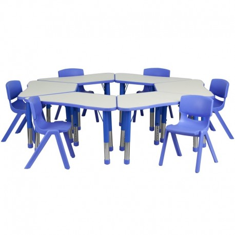 MFO Blue Trapezoid Plastic Activity Table Configuration with 6 School Stack Chairs