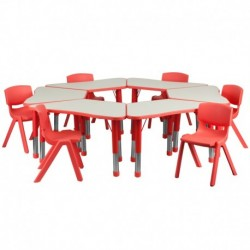 MFO Red Trapezoid Plastic Activity Table Configuration with 6 School Stack Chairs