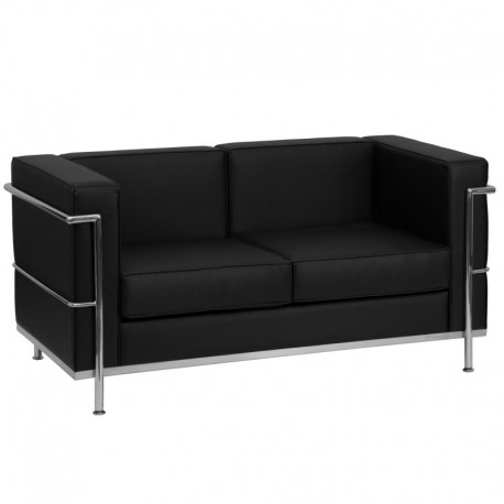 MFO Pristine Collection Contemporary Black Leather Love Seat with Encasing Frame