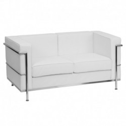 MFO Pristine Collection Contemporary White Leather Love Seat with Encasing Frame