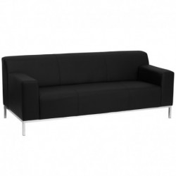 MFO Basal Collection Contemporary Black Leather Sofa with Stainless Steel Frame