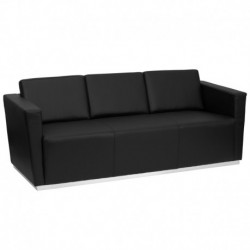 MFO Debonair Collection Contemporary Black Leather Sofa with Stainless Steel Base