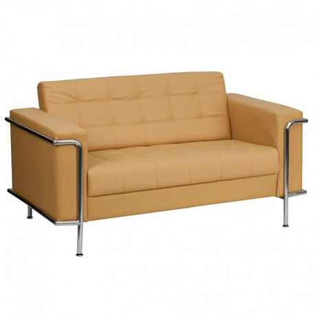 MFO Sophia Collection Contemporary Light Brown Leather Love Seat with Encasing Frame