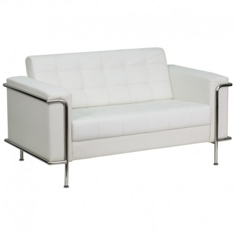MFO Sophia Collection Contemporary White Leather Love Seat with Encasing Frame