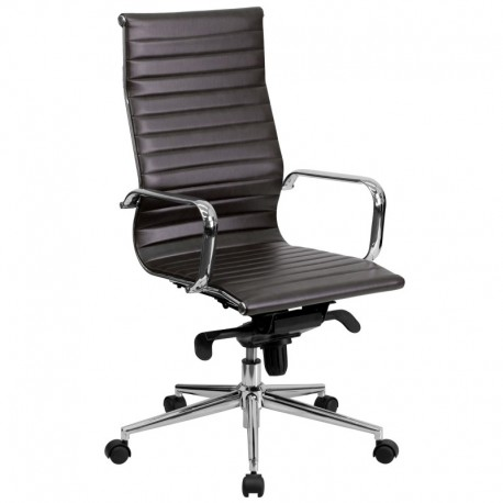 MFO High Back Brown Ribbed Upholstered Leather Executive Office Chair