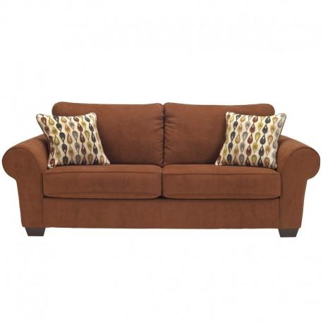 MFO Benchcraft Snooze Sofa in Terra Cotta Microfiber