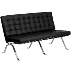 MFO Friendly Collection Black Leather Love Seat with Curved Legs