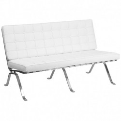 MFO Friendly Collection White Leather Love Seat with Curved Legs