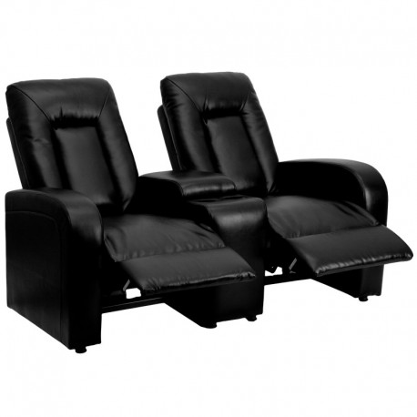 MFO Tranquil Collection 2-Seat Reclining Black Leather Theater Seating Unit with Cup Holders