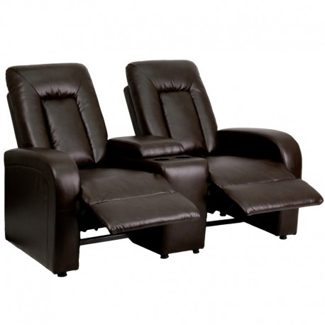 MFO Tranquil Collection 2-Seat Reclining Brown Leather Theater Seating Unit with Cup Holders