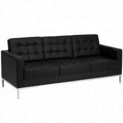 MFO Chimera Collection Contemporary Black Leather Sofa with Stainless Steel Frame