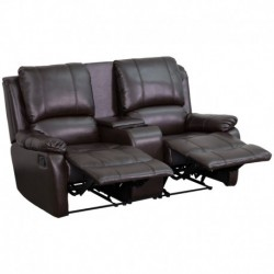 MFO Repose Collection 2-Seat Reclining Pillow Back Brown Leather Theater Seating Unit with Cup Holders