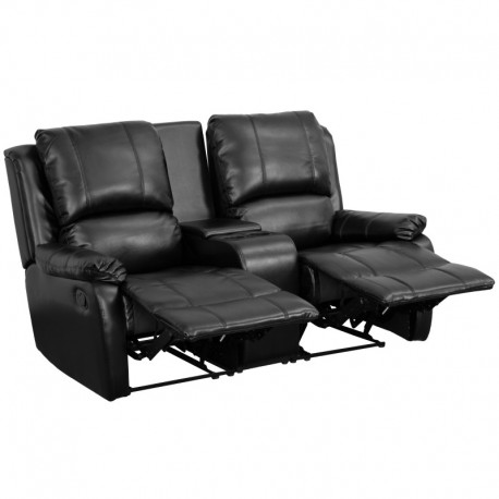 MFO Repose Collection 2-Seat Reclining Pillow Back Black Leather Theater Seating Unit with Cup Holders