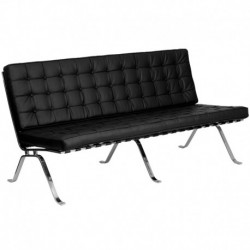 MFO Friendly Collection Black Leather Sofa with Curved Legs