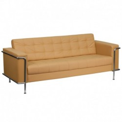 MFO Sophia Collection Contemporary Light Brown Leather Sofa with Encasing Frame