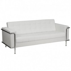 MFO Sophia Collection Contemporary White Leather Sofa with Encasing Frame