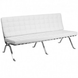 MFO Friendly Collection White Leather Sofa with Curved Legs