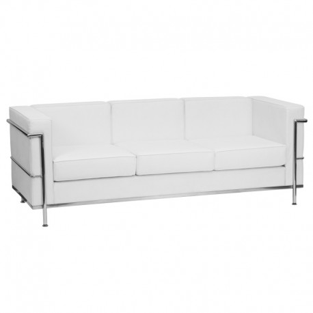 MFO Pristine Collection Contemporary White Leather Sofa with Encasing Frame