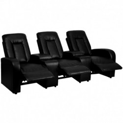 MFO Tranquil Collection 3-Seat Reclining Black Leather Theater Seating Unit with Cup Holders