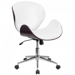 MFO Mid-Back Mahogany Wood Swivel Conference Chair in White Leather