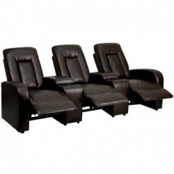 MFO Tranquil Collection 3-Seat Reclining Brown Leather Theater Seating Unit with Cup Holders