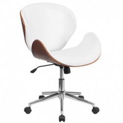 MFO Mid-Back Natural Wood Swivel Conference Chair in White Leather