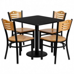 MFO 30'' Square Black Laminate Table Set with 4 Wood Slat Back Metal Chairs - Natural Wood Seat