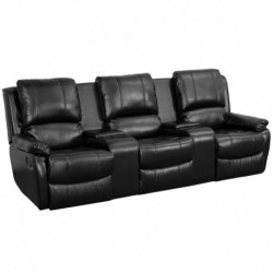 MFO Repose Collection 3-Seat Reclining Pillow Back Black Leather Theater Seating Unit with Cup Holders