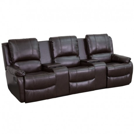 MFO Repose Collection 3-Seat Reclining Pillow Back Brown Leather Theater Seating Unit with Cup Holders