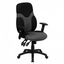 MFO High Back Ergonomic Black and Gray Mesh Task Chair with Adjustable Arms