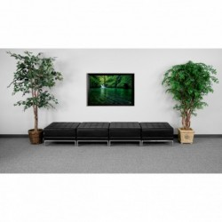 MFO Immaculate Collection Black Leather Four Seat Bench
