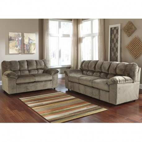 MFO Velvetine Living Room Set in Dune Fabric