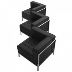 MFO Immaculate Collection Black Leather 3 Piece Corner Chair Set