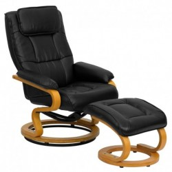 MFO Contemporary Black Leather Recliner and Ottoman with Swiveling Maple Wood Base